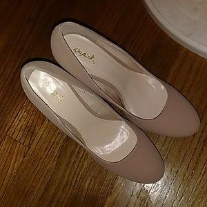 Tan heels, closed toe, never worn